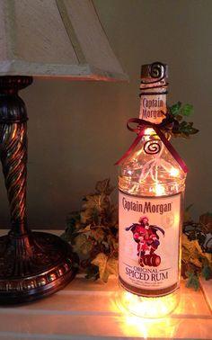 Captain Morgan Spiced Rum Bottle Light Amber Lights Liquor Bottle Lamp on Etsy, $30.00 Captain Morgan Gifts, Bottles Lights, Amber Lights, Apartments Ideas, Booths Ideas, Rum Bottles, Bottles Boutiques, Wine Liquor Bottles, Bottles Lamps