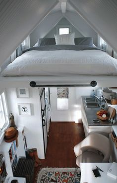 Mostly white interior of tiny house. Love this!