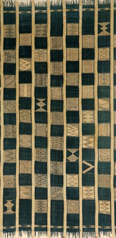 Africa | Detail from a prestige woman's wrapper ~ palo ~ from the Guro people of the Ivory Coast | Cotton; strip woven, supplementary weft float patterns