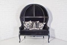 Charcoal velvet balloon love seat = <3