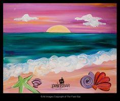 Funky Sea Shells Painting - Jackie Schon, The Paint Bar paint idea, canva paint, paint parti, paint bar, paint night