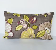 Decorative Pillow 12x20  plum,  green purple and taupe  Floral Accent Pillow Throw Pillow Cushion cover