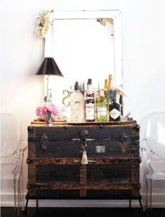 antique trunk used as bar
