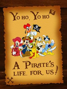 "Mickey & his Pirate Gang - Project Life Disney Filler Card - Scrapbooking. ~~~~~~~~~ Size: 3x4"" @ 300 dpi. This card is **Personal use only - NOT for sale/resale** Logos/clipart belong to Disney. *** Font is Pieces of Eight http://www.dafont.com/pieces-of-eight.font"