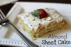 Almond Sheet Cake- I've got to make this for @Beverly Bourland Wade