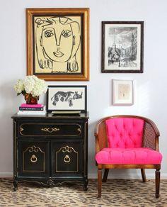 decor, interior, vignett, black cabinets, art, pink, furniture, accent chairs, entryway