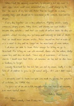 Spieling Peter's aka Lost Boy Andrew's farewell letter to Peter Pan. (My Last Spiel) He really was the best Peter... plus I LOVE what he says about Wendy (Hali, who is now his wife).  This is adorable!---I CRIED READING THIS. HE IS THE BEST PETER PAN AT DISNEYLAND. YOU CAN SEE HIM ON YOUTUBE VIDEOS. LOOK FOR SPEILING PETER PAN. HE WAS VERY FUN! HE WILL BE MISSED.
