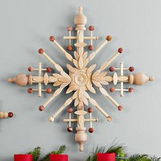 Wall ornaments above fireplace mantel - from Lowe's.