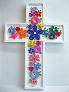 So pretty colorful! Paper Quilled Embellished Wood Cross, Decorative Wall Hanging. via Etsy.