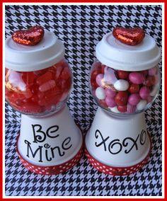 Valentine Clay Pot CANDY JARS by Marci Coombs. valentin idea, valentine ideas, marci coomb, gamesat httpfrivonecom, candi jar, valentine gifts, clay pots, candy jars, friv gamesat
