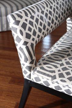 counter height bench : schumacher imperial trellis : alisha gwen interior design