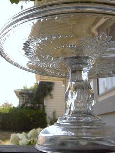 EAPG Elegant Bleeding Heart Pedestal Cake Stand Plate Pattern Glass 1870's