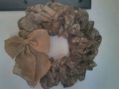 Burlap sack and Camo Wreath