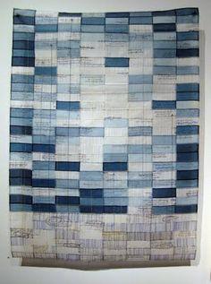 "jiseon lee isbara  Blueprints, 2010. 25"" x 34  1/2"" Hand stitched, dyed and inkjet printed silk fabric."