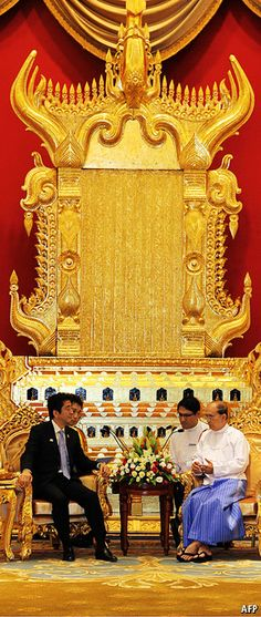 Hand in hand - IT WAS all toasts and effusions of mutual esteem when President Thein Sein welcomed Shinzo Abe to Myanmar's capital, Naypyidaw, on May 26th. Mr Abe was the first Japanese prime minister to visit the country since 1977.