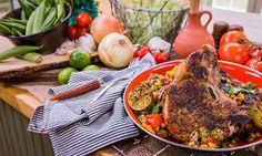 "Chef Jeff Henderson, host of ""Flip My Food,"" makes Cumin and Peppercorn rubbed Kurobuta Pork Chops with Okra Succotash. #porkchop #okra #succotash #homeandfamily #homeandfamilytv"