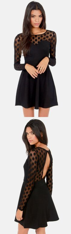 Dotted Darling! Little Black Dress via lulus.com!
