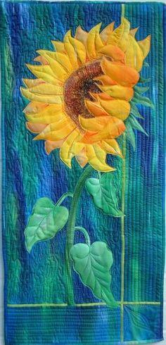 art quilt, sunflower quilts, happy colors, appliqu