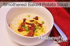 Warm up this fall with this Smothered Bake Potato Soup! #recipe #dinner