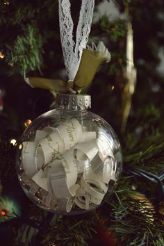 your wedding invitation as an ornament for your first Christmas tree as a married couple <3