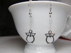 Owl Earrings Sterling Silver Earring by MonyArt on Etsy, $19.00