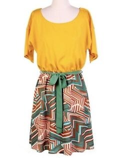 Printed Mustard Woven Dress - $36.00 : FashionCupcake, Designer Clothing, Accessories, and Gifts