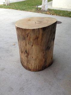 Natural wood tree stump table