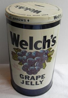 Vintage Welch's Grape Jelly Jar Metal Toy Bank 1960s by Christian Montone, via Flickr