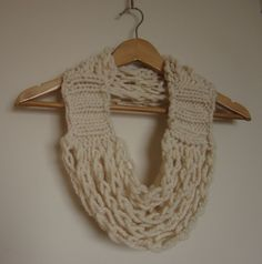 Cozy Circle Scarflace, Coffee Cream Knitted and Crocheted Infinity Scarf