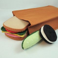 felt play food, brown bag lunches, brown bags, oreo, lunch bags, packed lunches, felt food, school decorations, back to school