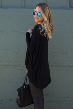 All Black (NOTE: long top/tunic! with sleeves!)