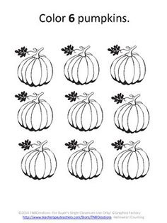 Halloween Math: Your students will love these printable Halloween Counting worksheets! They are a great way to practice counting, celebrate Halloween, and will save you time and money!  In this product you will receive 8 printable worksheets. Each worksheet contains a set of Halloween themed black and white pictures with a direction of how many of the pictures to color. This product is perfect for Pre-K or Kindergarten students to practice reading numbers and counting.