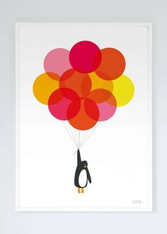 Mr Penguin Balloon Print - red/yellow
