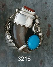 Ring- Bear Claw- Turquoise And Red Coral- Navajo Made-  Review the Tribal Impressions Bear Claw Jewelry Collection off of: http://www.indianvillagemall.com/jewelry/bearclaw.html