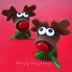 Resee's cup Rudolphs! Use M's for the nose and eyes! (Be creative for the antlers because I have no idea what to use!)