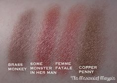 The Mercurial Magpie - Sweet Libertine Mineral Cosmetics - Brass Monkey, Some Monster In Her Man, Femme Fatale, Copper Penny Eyeshadow Swatches & Review! eyeshadow swatch, copper penni