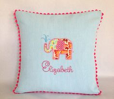Appliqued Seersucker Elephant Pillow by peppermintbee on Etsy, $48.00