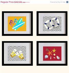 ON SALE Summer Beach Nursery Art Print  Gray by MadeForYouPrints, $37.95