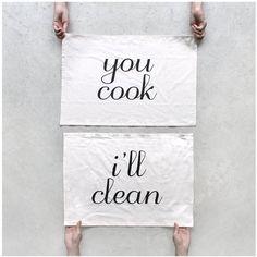 Tea towel set  Team Towels  You cook I'll Clean  by blackbirdtees, $35.00