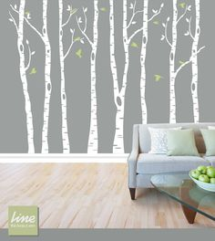 "Wall Birch Tree Decal Forest,  Birch Trees, Birch Trees Vinyl, Birch Tree Wall Decal, Kids Vinyl Sticker Removable - 84""  tall (7 feet)"