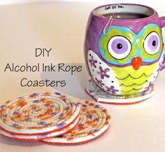 DIY Alcohol Ink Rope Coasters. This one looks really easy for the Webelos to do.