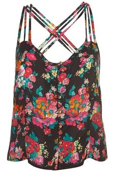 Black Floral Print Cross Back Cami - New In - Topshop - StyleSays