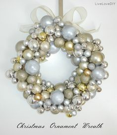 How to make your own ornament wreath for less than $10 using just dollar store supplies!