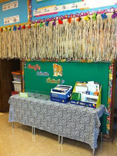 Bulletin board covered wall...To tone down the wall color.