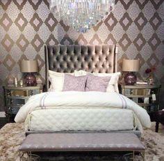 Glam Bedroom.  Like the wallpaper