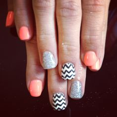 Shellac nail art gelish chevron neon orange silver glitter cute fun
