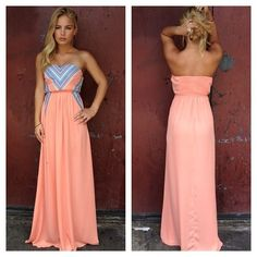 coral maxi dress with pattern