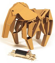 Using the same tab-and-slot construction technique as classic balsa wood airplanes, Kinetic Creatures start as flat-packed, laser-cut cardboard and transform into the impressive mechanical Rory the Rhino, Geno the Giraffe or Elly the Elephant.