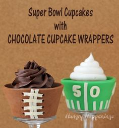 Super Bowl Dessert - White Chocolate Football Field Cupcake Wrappers
