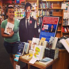 Who doesn't want to take their photo with a cardboard Stephen Colbert? stephen colbert, cardboard stephen, store cafe, shop imag, display idea, book store, bookstor display